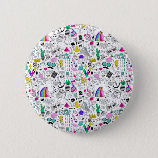 Super Fun Black White Rainbow 80s Sketch Cartoon Pinback Button