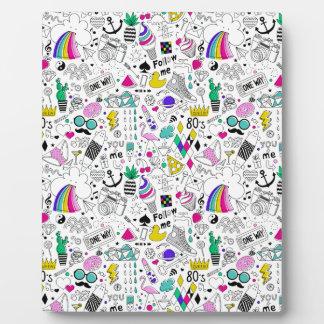 Super Fun Black White Rainbow 80s Sketch Cartoon Plaque