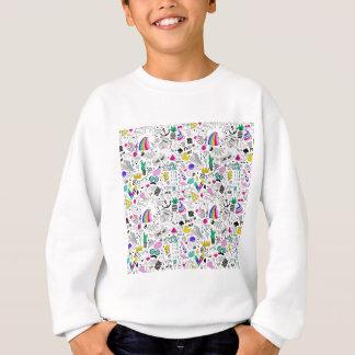Super Fun Black White Rainbow 80s Sketch Cartoon Sweatshirt