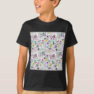 Super Fun Black White Rainbow 80s Sketch Cartoon T-Shirt