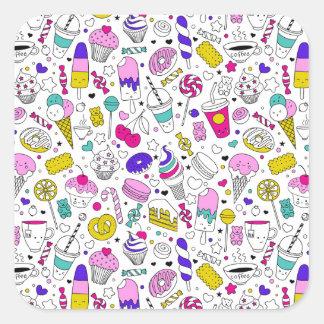 Super Fun Black White Rainbow Sweet Sketch Cartoon Square Sticker