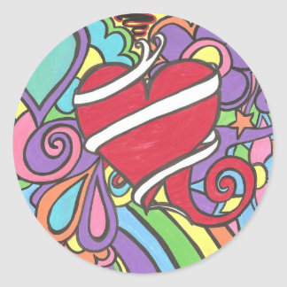 Super Funky Love Tattoo Heart Stickers