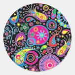 Super Funky Paisley Pattern Classic Round Sticker