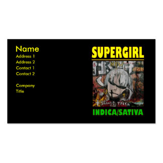 SUPER GIRL INDICA SATIVA Double-Sided STANDARD BUSINESS CARDS (Pack OF 100)