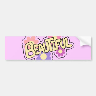 SUPER GIRLY CUTE CARTOON BEAUTIFUL FLOWERS COLORFU BUMPER STICKER