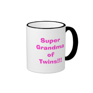 Super Grandma of Twins!!! Ringer Coffee Mug
