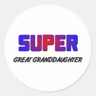 Super Great Granddaughter Classic Round Sticker