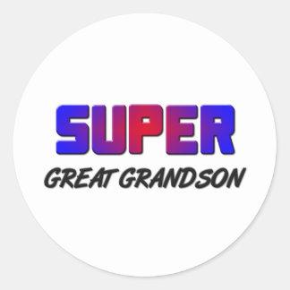 Super Great Grandson Classic Round Sticker
