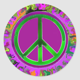 SUPER Groovy Peace Sign Classic Round Sticker
