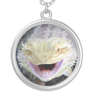 Super Happy Bearded Dragon Silver Plated Necklace