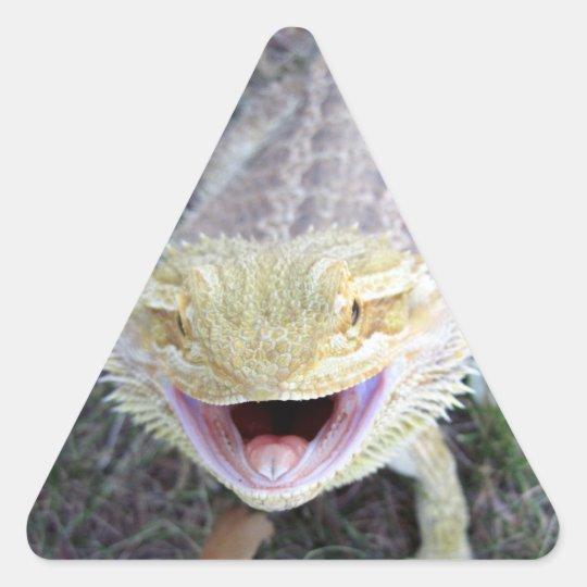 Super Happy Bearded Dragon Triangle Sticker
