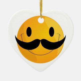 Super Happy Mustache Smiley Face Emoji Ceramic Ornament