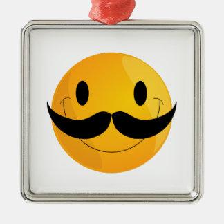 Super Happy Mustache Smiley Face Emoji Metal Ornament