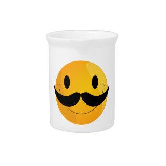 Super Happy Mustache Smiley Face Emoji Pitcher