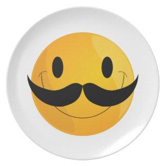 Super Happy Mustache Smiley Face Emoji Plate