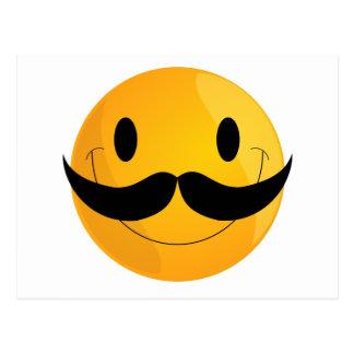 Super Happy Mustache Smiley Face Emoji Postcard