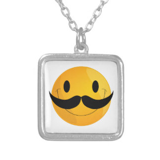 Super Happy Mustache Smiley Face Emoji Silver Plated Necklace