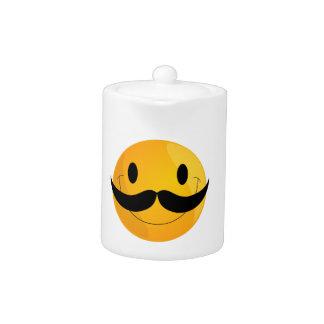 Super Happy Mustache Smiley Face Emoji Teapot