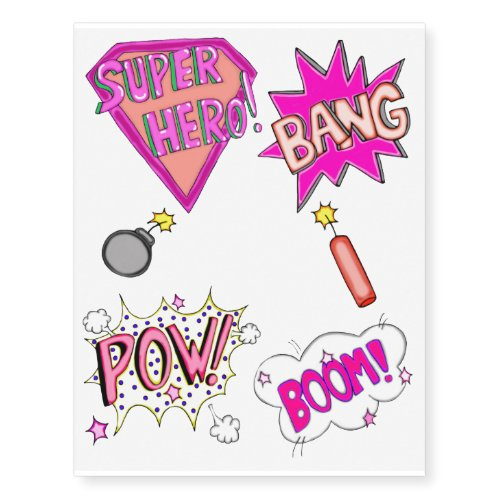 Super Hero 2 Pink Retro Temporary Tattoos