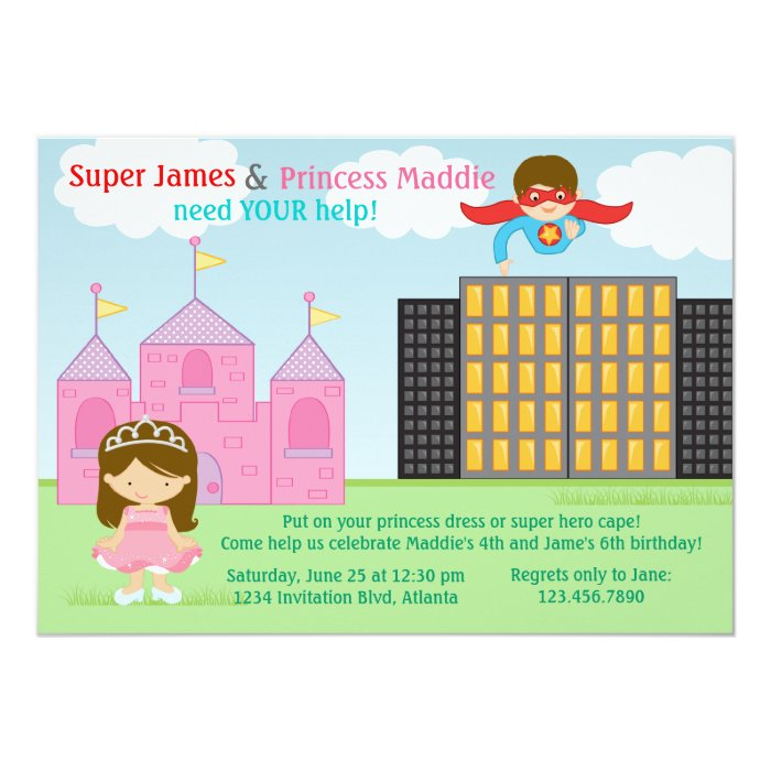 Super Hero and Princess Twins Joint Birthday Party Card