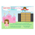 Super Hero and Princess Twins Joint Birthday Party Invitation