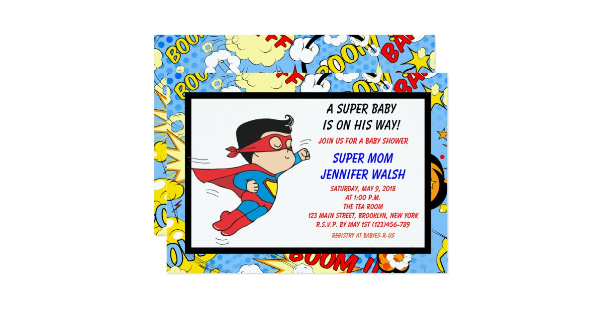 super hero baby shower invitations comic book zazzle
