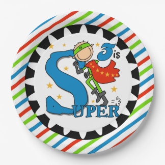 Super Hero Boy 3rd Birthday Paper Plates 9 Inch Paper Plate