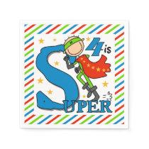 Super Hero Boy 4th Birthday Paper Napkins