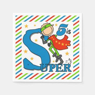 Super Hero Boy 5th Birthday Paper Napkins