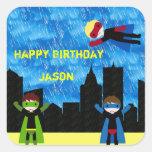 Super Hero Boys Bithday Party Square Sticker