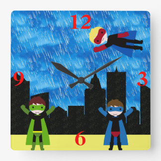 Super Hero Boys Bithday Party Square Wall Clock
