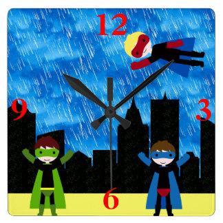 Super Hero Boys Bithday Party Square Wallclock