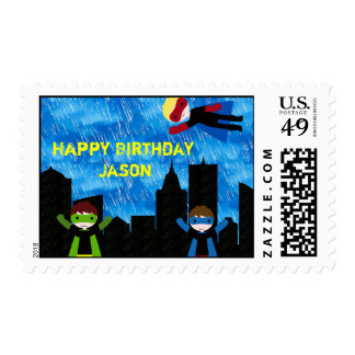 Super Hero Boys Bithday Party Stamps