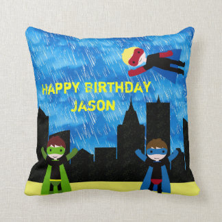Super Hero Boys Bithday Party Throw Pillow