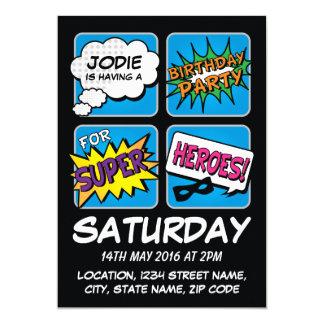 Super Hero Comic Strip Personalized Kids Birthday 5x7 Paper Invitation Card