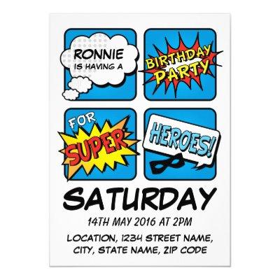 Super Hero Comic Strip Personalized Kids Birthday Card – Personalized Kids Birthday Cards