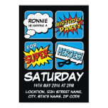 Super Hero Comic Strip Personalized Kids Birthday Card