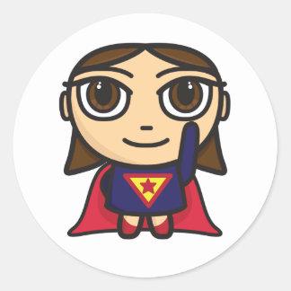 Super Hero Girl Character Classic Round Sticker