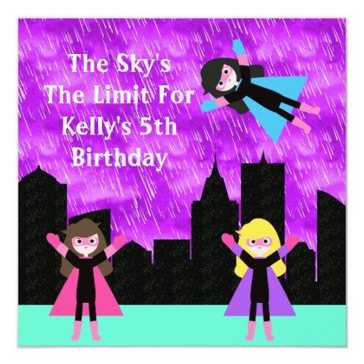 "Super Hero Girls Bithday Party 5.25"" Square Invitation Card"