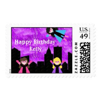 Super Hero Girls Bithday Party Stamp
