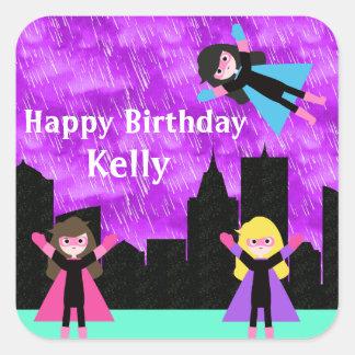 Super Hero Girls Bithday Party Stickers