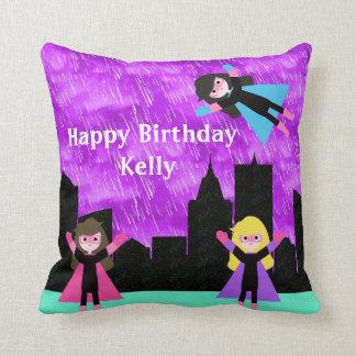 Super Hero Girls Bithday Party Throw Pillow