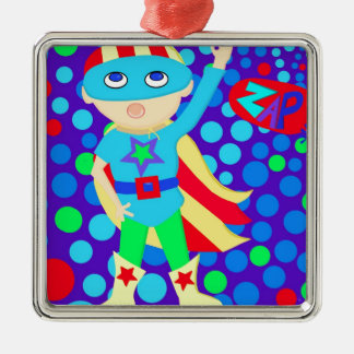 Super Hero  Kid Metal Ornament