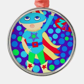 Super Hero  Kid Round Metal Christmas Ornament