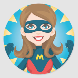 Super Hero Mom Classic Round Sticker