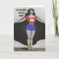 Super Hero Mom Vintage Photo Art Birthday Card