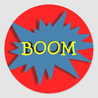 Super-hero Party Theme Red Blue Classic Round Sticker