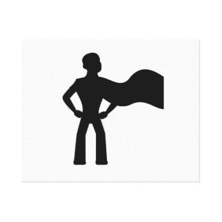 Super Hero Silhouette Stretched Canvas Prints
