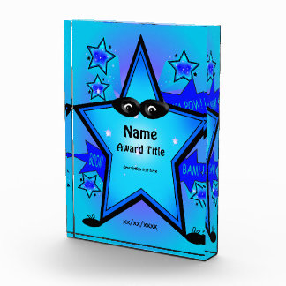 Super Hero Star Kid Custom Blue Acrylic Award