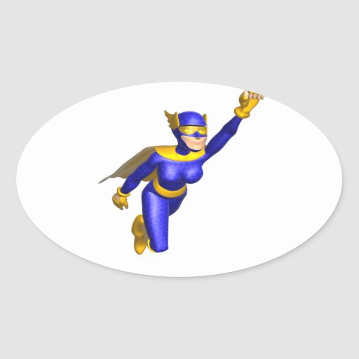 Super Hero Woman Oval Stickers